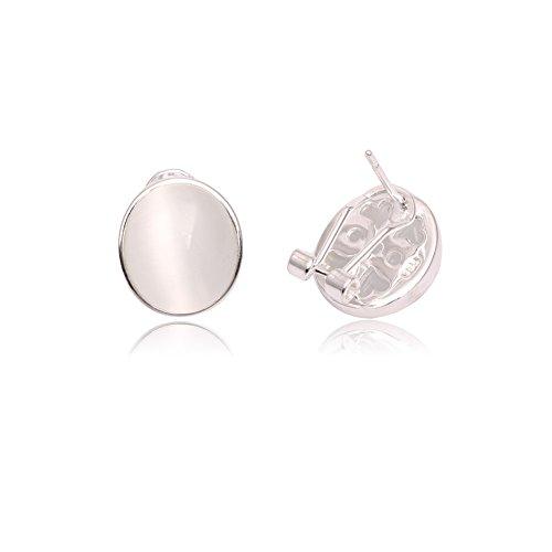 GEM-inside Cat Eye Beads 12x14mm Oval White Sleeper Earrings Round Ball Gemstone Beads Cute Tibetan Silver Marcasite Leverback Jewelry Accessory for (Cat Eye Oval Earrings)