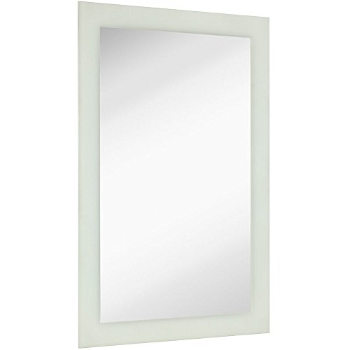 Large Frosted Edge Modern Rectangular Wall Mirror   Premium Silver Backed Etched Rectangle Mirrored Glass Panel Vanity, Bedroom, or Bathroom Hangs Horizontal & Vertical Frameless (24