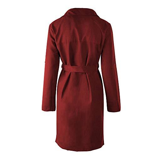 Franterd Women Coat Autumn Turn-Down Collar Cardigan Open Front Windbreaker with Belt Overcoat Outwear Pockets Jacket by Franterd (Image #2)