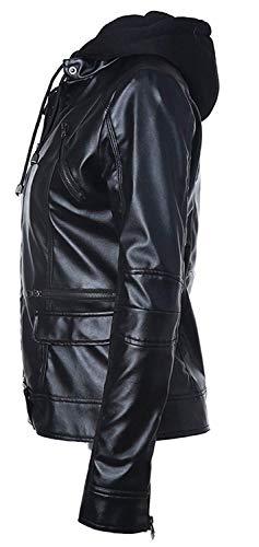 Schwarz Especial Giubbotto Invernali Casual Giacche In Pelle Fashion Manica Alta Autunno Lunga Transizione Donna Di Giacca Incappucciato Elegante Vita Similpelle Sottile Estilo Moto Outwear w6aqngaI