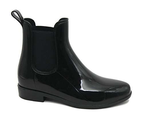 MS2910 Black Ladies Short Ankle Rain Boots 9 by Mobesano
