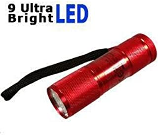Taschenlampe mit 9 Ultra Bright LEDs in rot mit 3 AAA Batterien