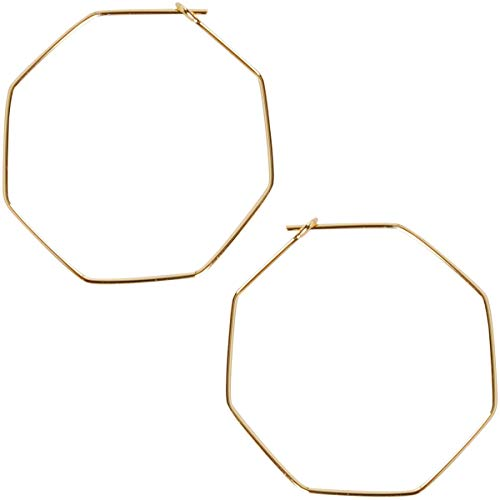 Humble Chic Octagon Hoop Earrings - Hypoallergenic Lightweight Open Wire Threader Drop Dangles for Women - Plated in 925 Sterling Silver or 18k Gold
