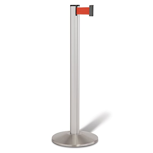 Beltrac 3000 Retractable Belt Stanchion, Satin Aluminum with 7 foot Red Belt