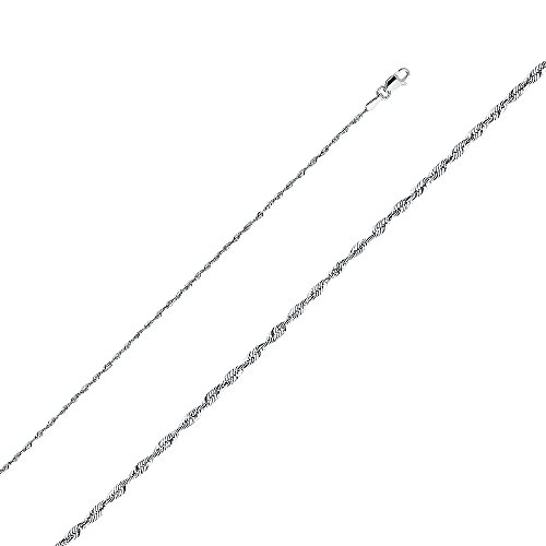 Wellingsale 14k White Gold SOLID 1.5mm Polished Diamond Cut SOLID Rope Chain Necklace with Lobster Claw Clasp - 18
