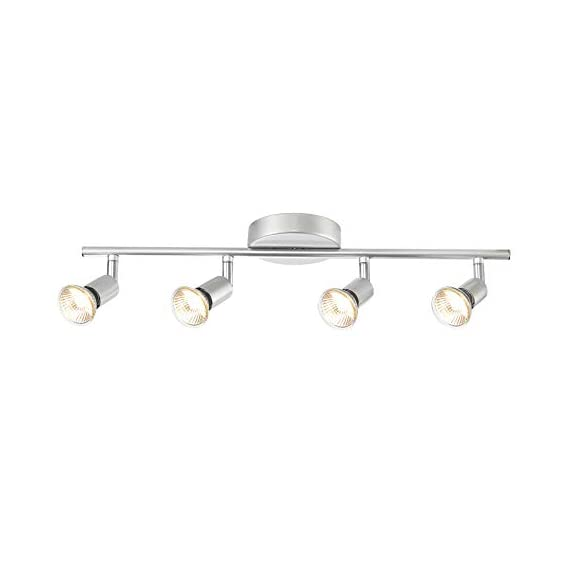 Globe Electric 58932 Payton 4-Light Track Lighting, Matte Silver - MINIMALIST DESIGN: the straight line of the track bar pairs with the exposed socket construction and is finished off with a matte silver to complete the perfect minimalist design PIVOTING TRACK HEADS/VERSATILE PLACEMENT: four independently pivoting track heads direct and focus light where needed and can also be used to mount on the wall as a vanity or wall track light BULB REQUIREMENTS: 4x GU10/Bi-Pin Base MR16 Shape 50W Bulbs (sold separately) - kitchen-dining-room-decor, kitchen-dining-room, chandeliers-lighting - 31b0PAMRaOL. SS570  -