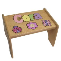 babykidsbargains Personalized Garden Wooden Puzzle Stool- Stool Color: Natural, Letter Color: Pastel, 1-8 Letters