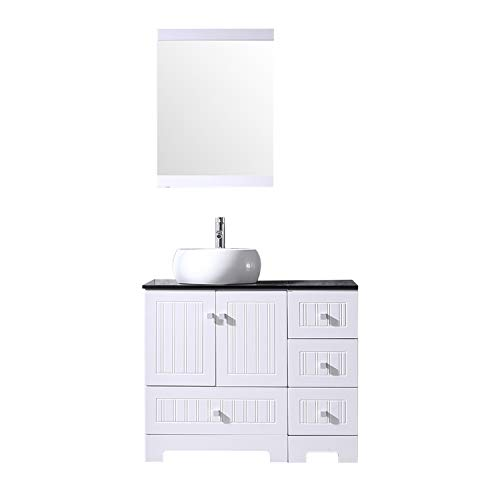 - Sliverylake 36 Bathroom Vanity and Sink Combo, Ceramic Vessel PVC Cover 36'' Cabinet Countertop Sink Bowl w/Mirror Set (White&Round)