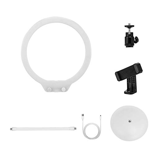 Zomei Photography Desk LED Ring Light with Camera Ball Head Phone Clip Holder