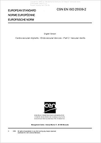 Book CSN EN ISO 25539-2 - Cardiovascular implants - Endovascular devices - Part 2: Vascular stents