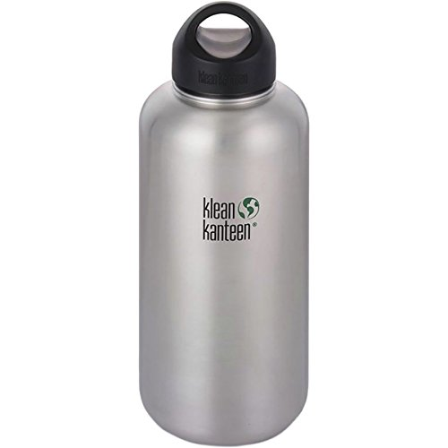 Klean Kanteen 40oz Wide Mouth Stainless Steel Water Bottle Single Wall with Leak Proof Stainless Steel Interior Cap - Brushed Stainless 2018