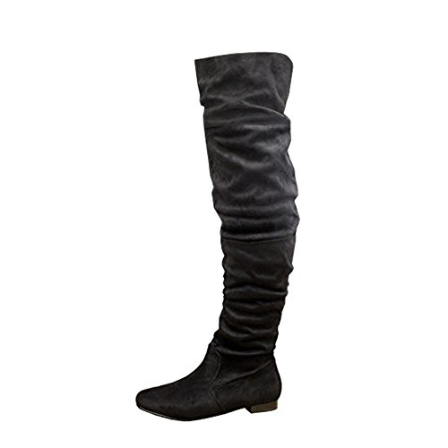 Over Block Heel Slouch Long Shoes High Tie 3 Size Boots Knee 8 Black Thigh SAUTE The Ladies STYLES Back Womens Suede qwt7RIP7