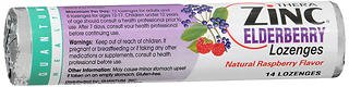 Quantum Health Thera Zinc Elderberry Lozenges Natural Raspberry Flavor - 12 Packs of 14 Each, Pack of 5