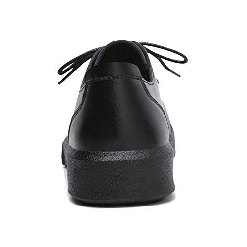 Casual para TRULAND Oxfords Mujer Cordones en Planos con Cuero Negro Zapatos TrqHYrX