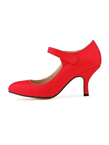 OCHENTA Mujer talones de la novia del tobillo PU de charol zapatos de trabajo Rojo