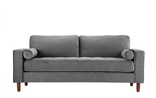 Mid Century Modern Velvet Fabric Sofa, Couch with Bolster Pillows (Grey)