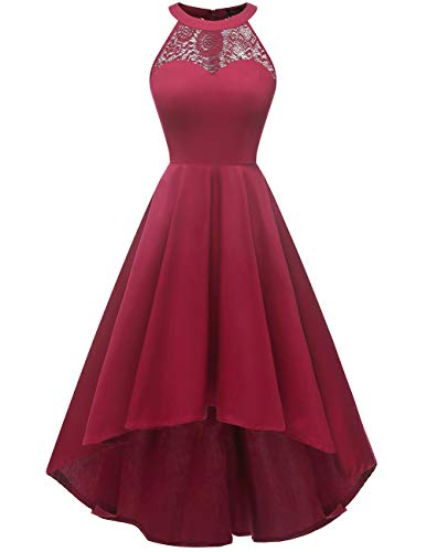 DRESSTELLS Women's Vintage 50's Bridesmaid Halter Floral Lace Cocktail Prom Party Hi-Lo Dress DarkRed XL