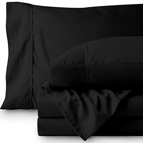 - Bare Home Premium 1800 Ultra-Soft Microfiber Collection Sheet Set - Double Brushed - Hypoallergenic - Wrinkle Resistant - Deep Pocket (King, Black)