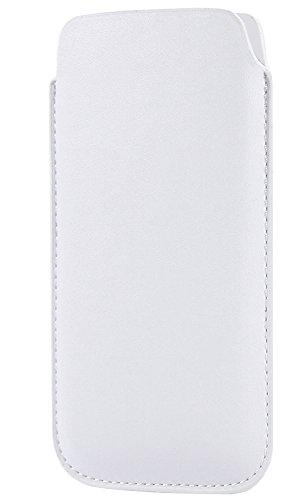Slim White Handytasche für Apple Iphone 5s Handyhülle Smartphone Hülle Schutztasche Etui Schutzhülle Tasche Case Cover Schutz Handy Pouch in Weiss