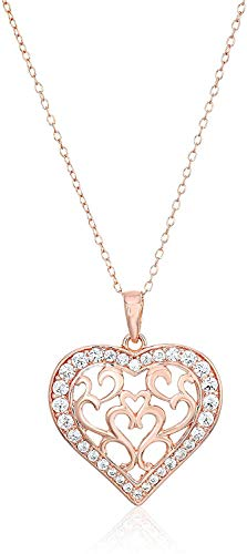 14K Rose Gold Plated Sterling Silver White Cubic Zirconia Filigree Pavé-Setting Heart Pendant Necklace, 18