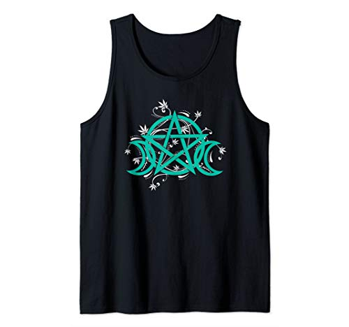 Triple Moon Pentacle Pot Leaf Weed Cannabis Wicca Witchcraft Tank ()