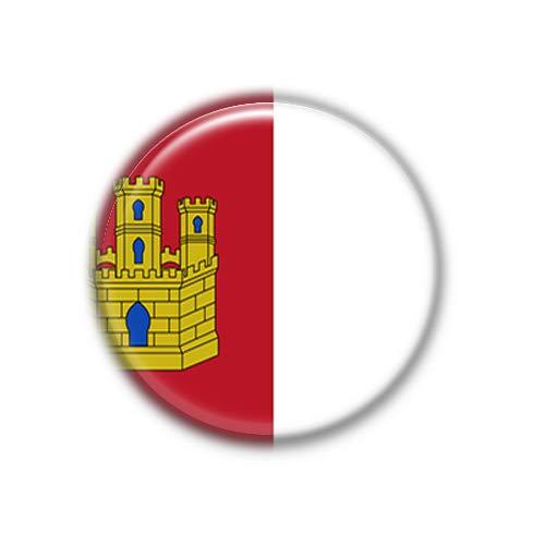 Castilla La Mancha : Bandera Comunidad Autonoma Española, Pinback Button Badge 1.50 Inch (38mm)