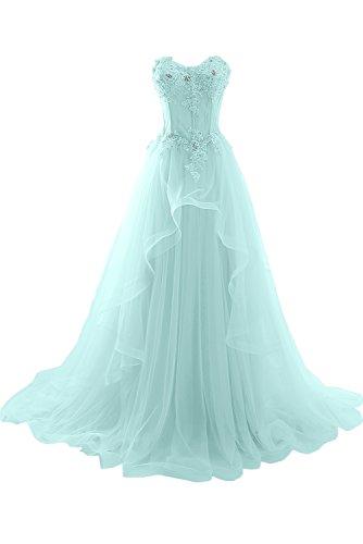 ivyd ressing Mujer de gran calidad Traeger los Punta & Gasa Largo a de línea Prom vestido Fiesta Vestido para vestido de noche azul celeste