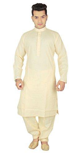 Desi Sarees Hombre Indio Sherwani Algodón krta Salwar Kameez Ropa Casual Pijama de Lujo 1801 (