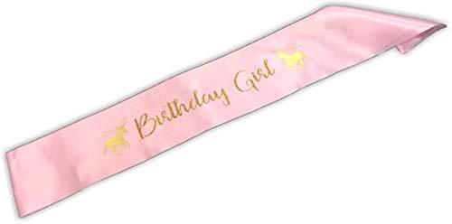 Lunar S Birthday Girl Sash - Birthday Girl Party Supplies - Unicorn Pink Satin Sash -Party Favors - Party Decorations