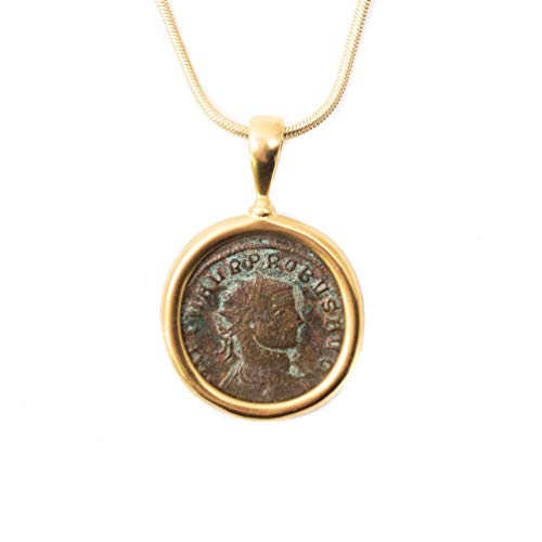 - Genuine Ancient Roman Coin Charm Necklace (Probus, 337-361 AD) with Certificate of Authenticity - 16 Inches Long 14k Gold Filled Chain Handmade Necklace by Miller Mae Designs