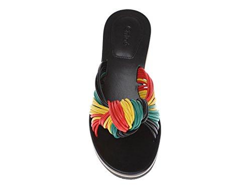 Chloé las mujeres bajo zapatillas de cuña de piel multicolor - Número de modelo: CH26500 03620 RGV Multicolor