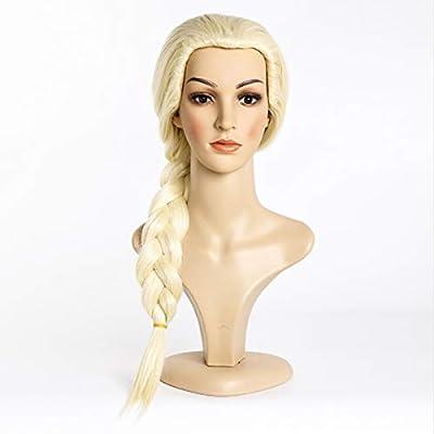 Frozen Elsa Snow Queen largo que teje trenza vestido de lujo Cosplay peluca niñas pelo partido de los niños Anna Elsa peluca