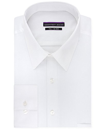 Geoffrey Beene Men's Sateen Tall Fit Solid Point Collar Dress Shirt, White, 20