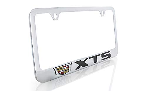 (Cadillac XTS Brass License Plate Frame with Chrome Finish (2 Hole))
