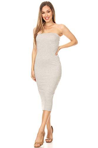 Vialumi Women's Junior Plus Size Long Midi Tube Dress with Lining H Grey 2X