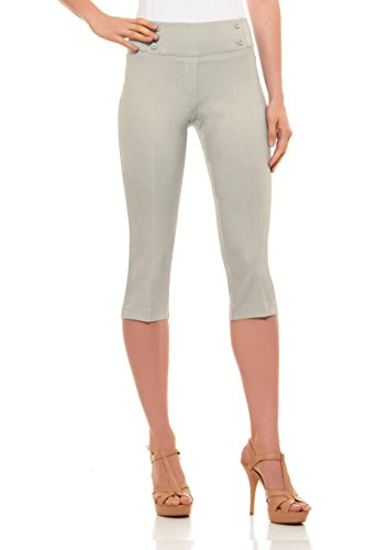 (Velucci Womens Classic Fit Capri Pants - Comfortable Pull On Style with Detailed Design, Stone-M)