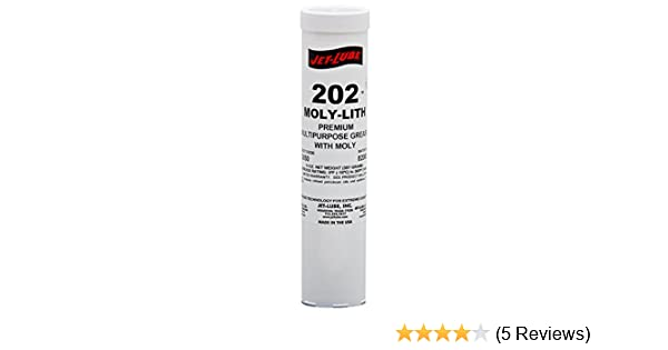Jet-Lube 33050#202 Moly-Lith Grease, 0 to 300 Degrees F, 2 NLGI Number, 14  oz Cartridge, Black