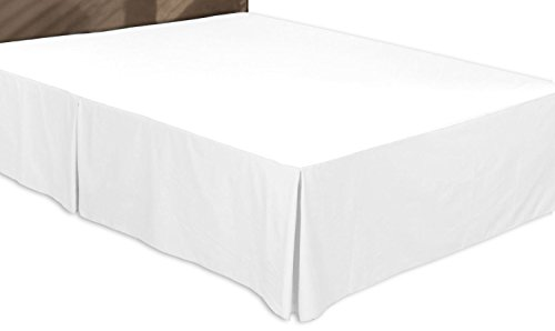 Premium Cotton Bed-Skirt (Queen, White) - 100...