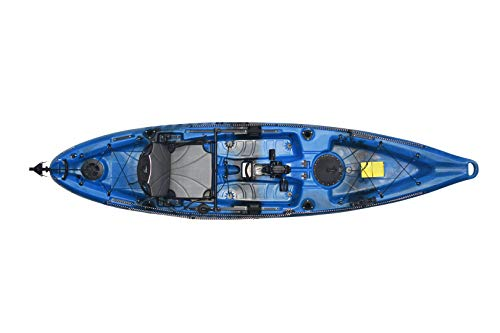 Riot Kayaks Mako 12 Angler Sit-on-Top Kayak with Impulse Pedal Drive, Neptune Blue/Black, 12'4″