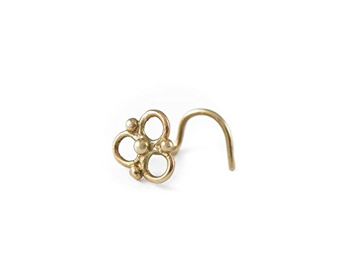 Nose Screw: Triangle Gold 14K Handmade Indian Style Nostril Jewelry in 22 Gauge ()