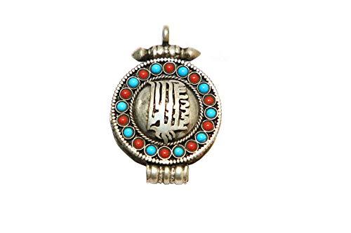 (Gau, Prayer Box Pendant, Handmade Pendant, Turquoise Pendant, Coral Pendant, Lapis Pendant, Tibetan Pendant Collectible Handicraft Art by Bharat HaatBH06692)