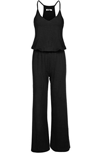 [Meaneor Women's Spaghetti Strap High Waist Wide Leg Casual Long Jumpsuit Black M] (Stretch Jumpsuit)