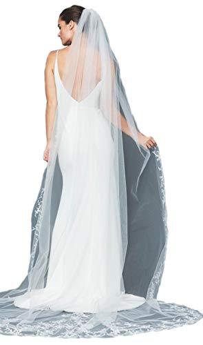 (Passat Ivory 1Tier Royal Long 4M Vine-like beading whimsical cathedral crystal veil ivory veils bridal wedding TWIGGY)