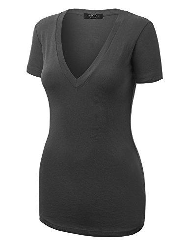 MBJ WT1134 Womens Basic V Neck Short Sleeve T Shirt S - S/s Cotton Gray T-shirt