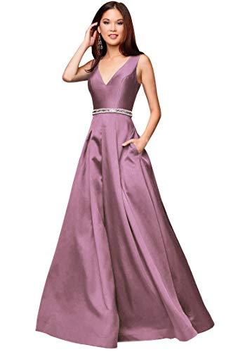 8253f83d87a4 Zhongde Women's A-line V Neck Open Back Beaded Satin Formal Dress Long  Evening Ball