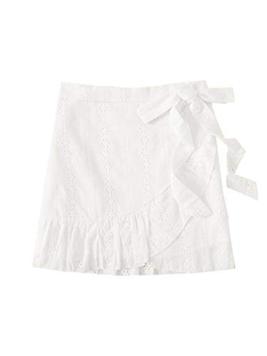 WDIRARA Women's Summer Eyelet Embroidery Knot Side Wrap Chiffon Skirt White XL (Eyelet Mini Skirt)