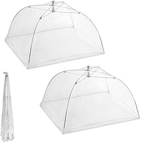 riutilizzabili e pieghevoli per tenere lontane mosche colore: bianco Set di 2 grandi ombrelli coprivivande in rete diametro 40,6 cm per picnic//barbecue insetti e zanzare