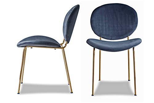 Edloe Finch Set of 2 Upholstered Modern Velvet Dining Chairs with with Gold Legs, Grey (Dining Room Chairs Velvet Grey)