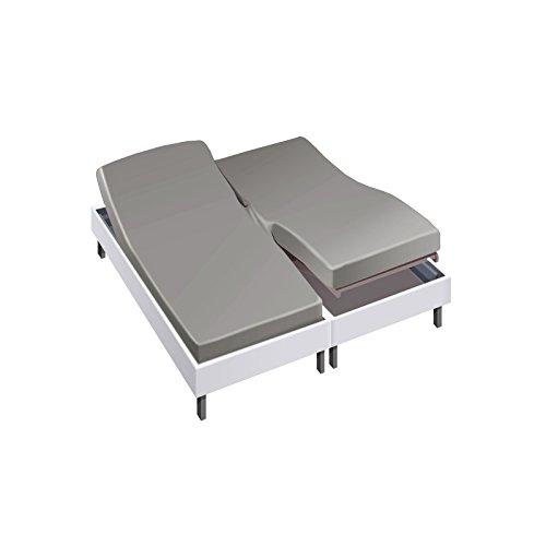 Drap housse pour lit articulé 2x90x200 en Percale - Couleur: Souris