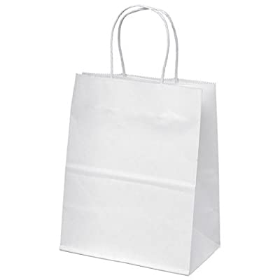 "8""x4.75""x10"" - 100 Pcs - White Kraft Paper Bags, Shopping, Mechandise, Party, Gift Bags"